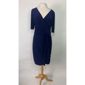 Chaps Navy Blue Faux Wrap Dress